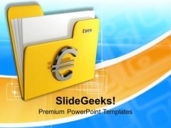 Folder Icon With Euro Sign PowerPoint Templates Ppt Backgrounds For Slides 0113