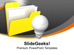Folder Icon With Light Bulb Idea Discussion PowerPoint Templates Ppt Backgrounds For Slides 0113