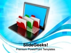 Folder Structure With Laptop Business PowerPoint Templates And PowerPoint Themes 0812