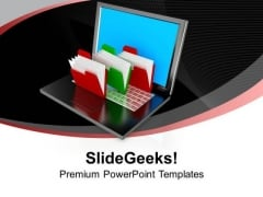 Folder Structure With Laptop Business PowerPoint Templates And PowerPoint Themes 1012