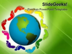 Foot Prints Diversity Global PowerPoint Templates And PowerPoint Backgrounds 0311