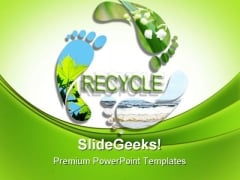 Foot Prints Recycle Symbol PowerPoint Templates And PowerPoint Backgrounds 0211