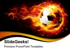 Football With Flames Sports PowerPoint Themes And PowerPoint Slides 0411