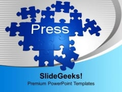 Forming Puzzle With The Word Press Solution PowerPoint Templates Ppt Backgrounds For Slides 0113