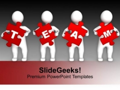 Four 3d Persons Holding Red Puzzle Pieces PowerPoint Templates Ppt Backgrounds For Slides 0113