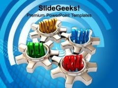 Four Gears Turn In Conjunction Industrial PowerPoint Templates And PowerPoint Themes 0812
