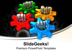 Four Gears Turn In Conjunction Industrial PowerPoint Templates And PowerPoint Themes 1012