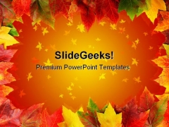 Frame Of Autumn Leaves Nature PowerPoint Templates And PowerPoint Backgrounds 0611