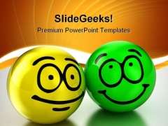 Friendship Smiley Balls Metaphor PowerPoint Templates And PowerPoint Backgrounds 0411