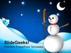 Funny Snowman With Broom Winter Background PowerPoint Templates Ppt Backgrounds For Slides 1212