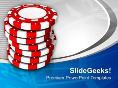 Gambling Chips For Poker Game PowerPoint Templates Ppt Backgrounds For Slides 0413