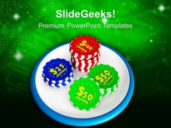 Gambling Of Poker Chips PowerPoint Templates Ppt Backgrounds For Slides 0213