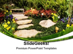 Garden Path Nature PowerPoint Themes And PowerPoint Slides 0511