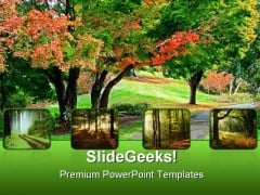 Garden Pathway Nature PowerPoint Templates And PowerPoint Backgrounds 0411