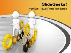 Gear The Business Process With Joint Efforts PowerPoint Templates Ppt Backgrounds For Slides 0613