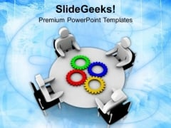 Gear The Meeting With Current Issuses PowerPoint Templates Ppt Backgrounds For Slides 0513