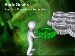 Gear The Process Flow With Right Solution PowerPoint Templates Ppt Backgrounds For Slides 0613