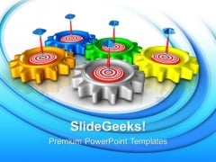 Gear With Target Teamwork PowerPoint Templates And PowerPoint Themes 0612