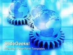 Gears And Globe Concept Industrial PowerPoint Themes And PowerPoint Slides 0411