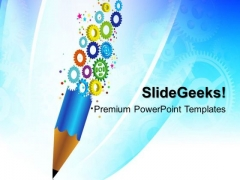 Gears And Pencil Business PowerPoint Templates And PowerPoint Themes 0412