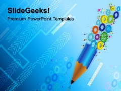 Gears And Pencil Gearwheels PowerPoint Templates And PowerPoint Themes 0512