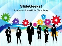 Gears With Business Person Industrial PowerPoint Templates And PowerPoint Themes 0412