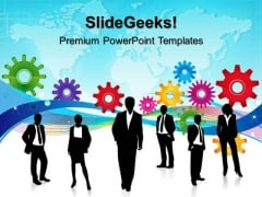 Gears With Business Team Success PowerPoint Templates And PowerPoint Themes 0312