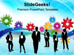 Gears With Business Teamwork PowerPoint Templates And PowerPoint Themes 0512
