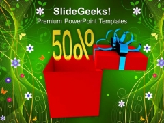 Gift Box With The Sign Of Discount PowerPoint Templates Ppt Backgrounds For Slides 0413