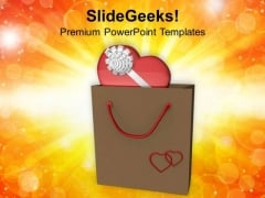 Gift In Shopping Bag Valentines Day PowerPoint Templates Ppt Backgrounds For Slides 0213