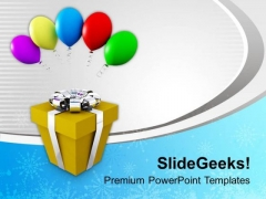 Gift In Silver Ribbon With Balloons PowerPoint Templates Ppt Backgrounds For Slides 0113