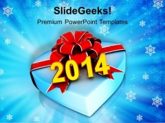 Gift Of New Year 2014 PowerPoint Template 1113