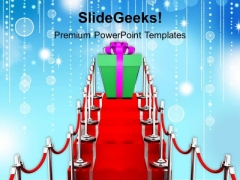 Gift On Red Carpet Winner PowerPoint Templates Ppt Backgrounds For Slides 1212