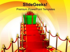Gift On Top Of The Stairs PowerPoint Templates Ppt Backgrounds For Slides 0713
