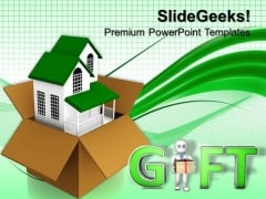 Gifting A House Real Estate PowerPoint Templates And PowerPoint Themes 0812