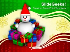 Gifts Around Smiling Snowman Christmas Theme PowerPoint Templates Ppt Backgrounds For Slides 1212