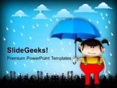 Girl Enjoying Rainy Season PowerPoint Templates Ppt Backgrounds For Slides 0713