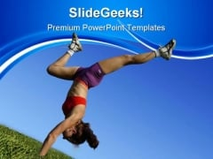 Girl Exercising Health PowerPoint Themes And PowerPoint Slides 0511