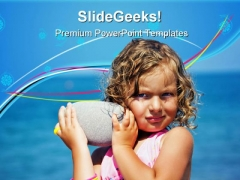 Girl Holds Stones Beach PowerPoint Templates And PowerPoint Backgrounds 0711
