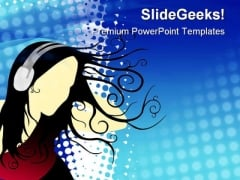 Girl Listening Music Entertainment PowerPoint Templates And PowerPoint Backgrounds 0811