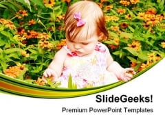 Girl Sitting In Flowers Baby PowerPoint Templates And PowerPoint Backgrounds 0511