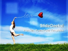 Girl With A Red Balloon Nature PowerPoint Themes And PowerPoint Slides 0311