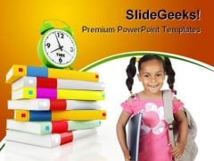 Girl With Books Education PowerPoint Template 0910