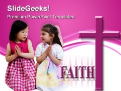 Girls Praying Faith Religion PowerPoint Themes And PowerPoint Slides 0711