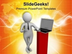 Give Presentation With Laptop PowerPoint Templates Ppt Backgrounds For Slides 0713