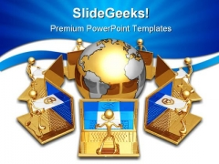 Global E Mail Computer PowerPoint Themes And PowerPoint Slides 0411