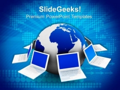 Globe And Laptop Computer PowerPoint Templates And PowerPoint Themes 0812