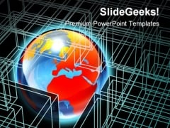 Globe In Box Wire Frame Global PowerPoint Templates And PowerPoint Backgrounds 0311