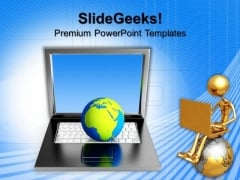 Globe On Laptop Computer PowerPoint Templates And PowerPoint Themes 0812