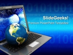 Globe Placing On Laptop Computer PowerPoint Templates And PowerPoint Backgrounds 0511